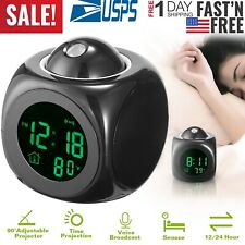 Kocaso Digital LCD Voice Talking LED Projection Alarm Clock Temp Station