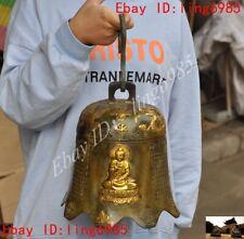 "16""Chinese Bronze gilt buddhism dragon Phoenix Kwan-yin statue temple bell Zhong"