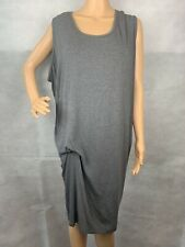 Pure DKNY Dark Gray Jersey Scoop Neck Ruching Relaxed Tshirt Comfy Dress Sz S