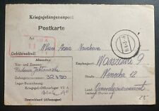1943 Oflag 7A Germany POW Camp Postcard Cover Prisoner War To Warsaw Poland