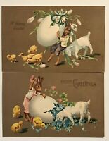 ~Lot of 2 ~Dressed Rabbits with Eggs~Flowers~Lambs~Antique Easter Postcards-p163
