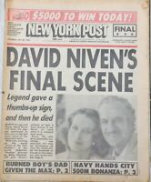 New York NY Post David Niven Final Scene Before Death 1983 Newspaper