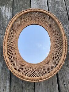 Vintage Oval Rattan Cane Wicker Wall Mirror Sunburst MCM Boho Mid Century
