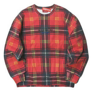 Supreme 21SS Plaid Crewneck Logo embroidery check sweatshirt pullover L Red tops
