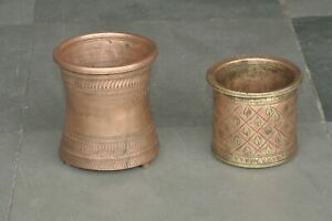 2 Pc Old Brass Handcrafted Inlay Engraved Holy Water Pots, Rich Patina