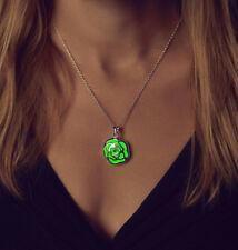 Rose Glow In Dark Locket Hollow Glowing Luminous Pendant Necklace Women Fashion