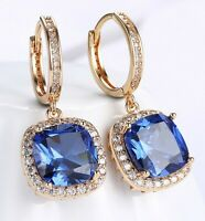 3CT Sapphire Halo Cut Drop Earring Made with Swarovski Crystal 18K Gold Plated