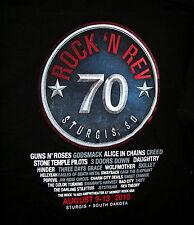 2010 Sturgis Rock 'N Rev Concert Guns & Roses 70 Biker Black T-Shirt New Xl