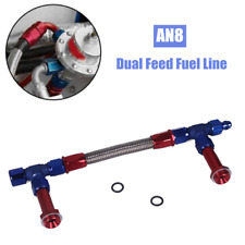 """AN8 Dual Feed Fuel Fitting Braid Hose Adapter Kit For 4150 7/8"""" Thread Dominator"""