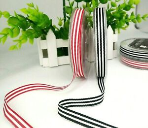 Classic Grosgrain Stripe Ribbon 10mmx15m Roll Gift wrapping Xmas tree deco