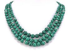 "Judith Ripka Sterling Silver Three Strand Malachite Bead Necklace 20""L"
