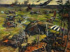 PAINTINGS WAR LANDSCAPE INVASION SCENE CUNEO PLANE TANK SOLDIER UK LV3487
