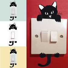 3PCS DIY Gato Luz Interruptor Etiqueta De La Pared Engomada Decoración Hogar