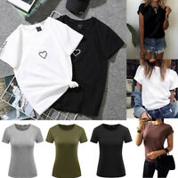 White Black Basic Tee Women Casual Tops Summer Short Sleeve Heart T-Shirt Blouse