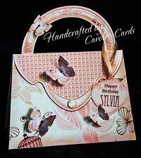 HB06 - Handmade Personalised Handbag Shape Age/Female Pink Floral Birthday Card
