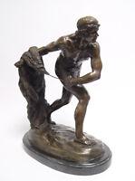 """9973359-dss Bronze Skulptur Figur Gladiator """"Retiarian"""" Steinsockel H38cm"""