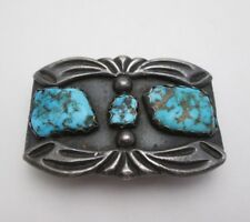 OLD NAVAJO PAWN INGOT SILVER & TURQUOISE BELT BUCKLE, 3 nuggets, 60 grams