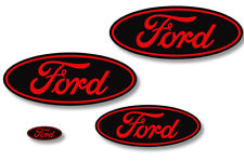 Ford Oval Badge Emblem Logo Overlay Sticker Decal Set For Ford F150 09-14 RED BK