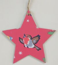 Medium Wooden Hanging Star in Cath Kidston Red Christmas Robin 10cm
