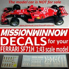 1/43 F1 MISSION WINNOW Ferrari SF71H 2018 water slide DECALS Bburago / LookSmart