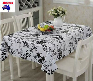 Thick Bamboo Style PVC Vinyl Party Event Rectangle table cloth Cover Waterproof