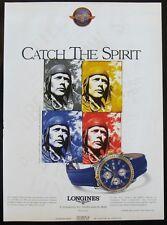 Longines Lindbergh Spirit Collection blue watch Print Ad Magazine 1997