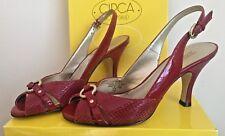 👠 Circa Joan & David Starry Leather Heel Sandals, 6 M, Dark Red, Snake Reptile