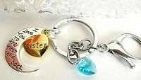 SISTER MOON HEART LOVE KEY RING STRONG CLASP CHAIN SILVER GIFT BOXED BIRTHDAY
