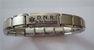 Italian Charms DNR Do Not Resuscitate Medical Alert Bracelet