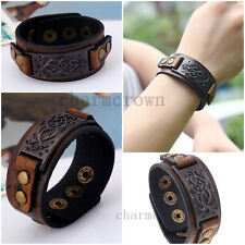 Trendy Men Brown Leather Wristband Cuff Punk Bangle Bracelet Women Jewelry Gift