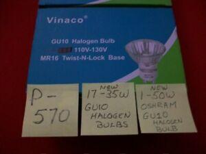 LOT OF 17 VINACO 35 WATT GU10 HALOGEN BULBS & 1 OSHRAM 50 WATT HALOGEN BULB NIB