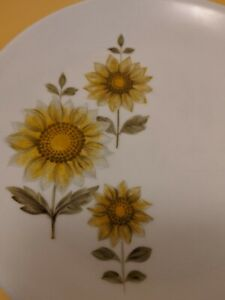 JOHNSON OF AUSTRALIA VINTAGE china ~ Butter/ Side plates LOT x 2 ~ Sunflowers ~