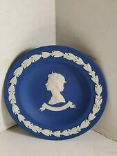 Queen Elizabeth II Silver Jubilee Wedgwood Plate - Cobalt Blue