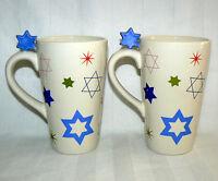 STAR OF DAVID 14 OZ SET OF 2 HANUKKAH JEWISH HOLIDAY DELICATE CERAMIC TALL MUGS