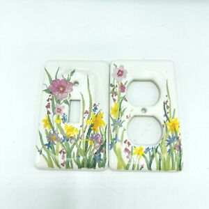 Two Leviton Porcelain Light Switch and Plug Covers Wildflowers Cottage Core