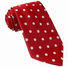 New men/'s polyester woven neck tie necktie prom polka dots red white