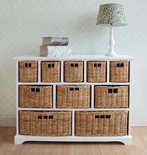 Large Chest of Drawers W 10 Wicker Baskets Stylish Bathroom Hallway Storage Unit