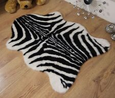 Zebra Animal Print Faux Fur Fake Single Shape Sheepskin Style Rug Mat 70 x 100cm