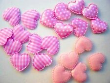 60 Mix Fabric Hearts Applique/Felt/Satin/Gingham/Polka Dot/Trim/Sewing H78-Pink
