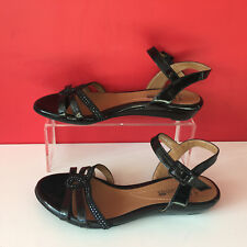 Clarks Cushion Soft Black Patent Leather Strappy Flat Sandals Size 3 EUR 36