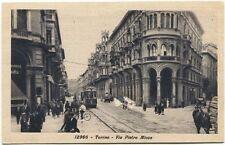 Primi '900 Torino via Pietro Micca vechio tram bicicletta passanti FP B/N ANIM