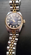 Rolex Oyster Perpetual Datejust Blau Diamant Zifferblatt Stahl Gold Damenuhr Uhr
