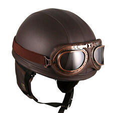 Vintage Motorcycle Motorbike Scooter Half Leather Helmet Brown + Goggles