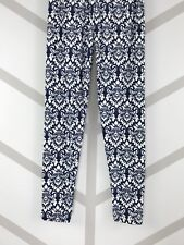 White Floral Pattern One Size Navy Blue Background OS Legging Pants Buttery Soft