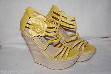 "Womens YELLOW STRAPPY 6"" WEDGE HIGH HEELS Silver Stud & Flower ZIP ANKLE Size 9"