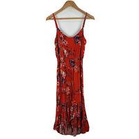 Witchery Womens Midi Dress Size 10 Orange Floral Sleeveless Round Neck