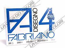 FABRIANO - DISEGNO 4 - F4 - 200 g/mq RUVIDO - 24x33cm - BLOCCO 20FG A 4 ANGOLI