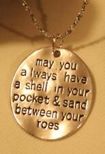 Handsome Sun & Sand Etched Beach Bum Summertime Oval Pendant Necklace