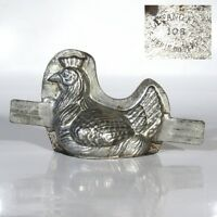 Antique French Tinned Metal Chocolate Mold, Hen, Signed Letang Fils, Paris