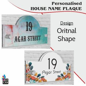 House Sign / Plaque Oriental Shape Door Number Street Name Acrylic Glass